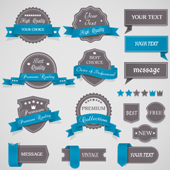 Set of vintage labels and ribbons
