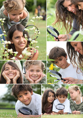 Collage of children using a magnifying glass outdoors