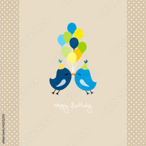 2 Blue Flying Birds With 9 Ballons Dots