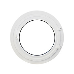 Fenêtre ronde, hublot, fond blanc