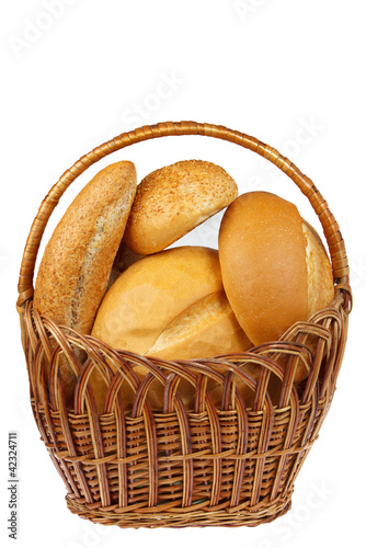 Fresh bread in the basket with copy space