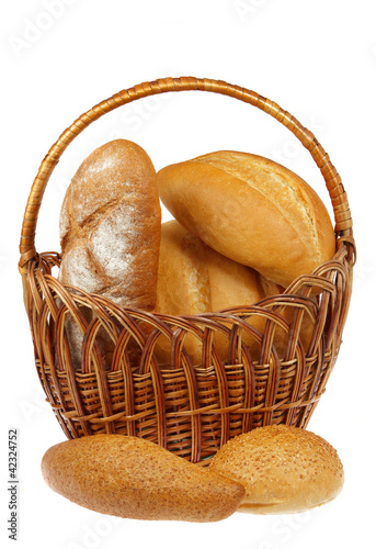 Fresh bread in the basket with