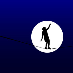 man walking a tightrope in the moonlight