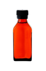 Close up on a medicine bottle with red syrup isolated on white b