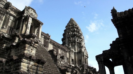 Entrance to Angkor Wat tower, Siem Reap, Cambodia- time lapse