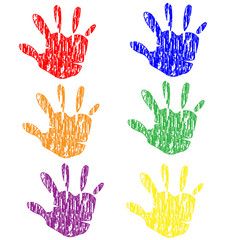 Colored grunge vintage hands vector stock