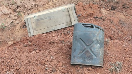 Empty Surplus Ammunition Crate Pulled Away And Thrown Back