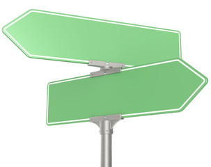 Green Road signs. Blank for Copy Space. Isolated.