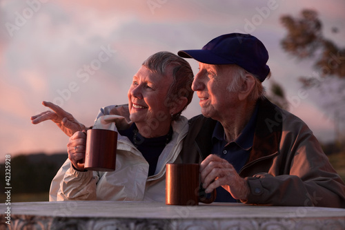 Couple Outdoors at Table