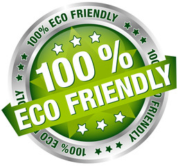 "Button Banner ""100% Eco Friendly"" Star Green/Silver"