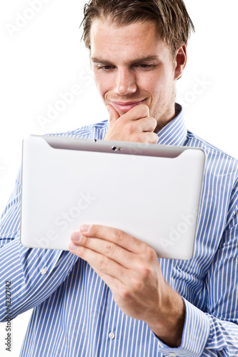 business mann mit tablet