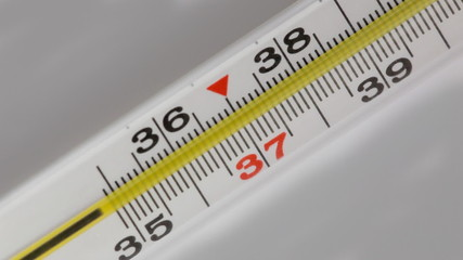 Glass mercurial thermometer on a white background