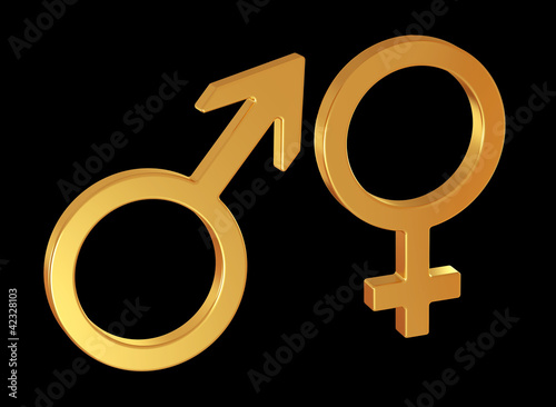 Male and female gender symbols on black