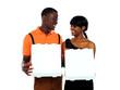 Loving couple holding pizza boxes