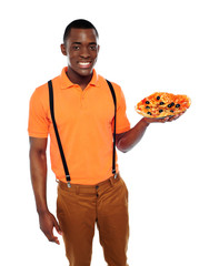 Handsome black man holding pizza