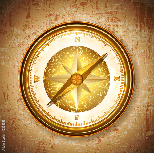 Vinatge antique golden compass