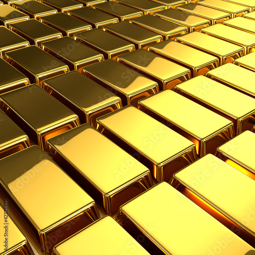 3d Gold Bullion bars angled view