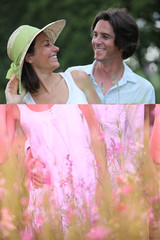 a couple walking in a floral field