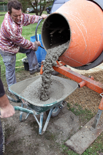 Man with a cement mixer