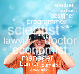 Woman looking through binoculars for specialty to study or job.