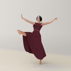Tänzerin in einem rot gepunkteten Kleid