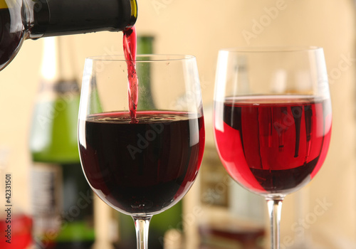A bottle of wine and two glasses