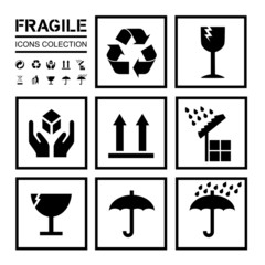 packaging / fragile icons collection - clear