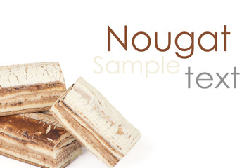 Nougat on the white background