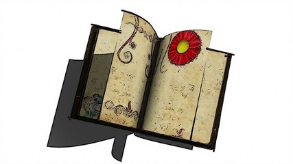 animated opening blank book with decorative painting flowers
