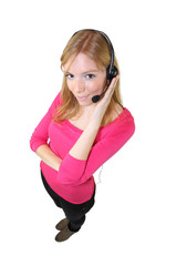 high angle shot of blonde consultant with earphones