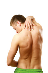 young man with pain on upper back