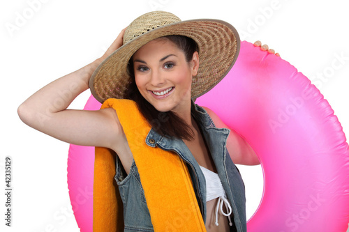 Woman holding rubber ring