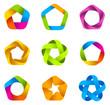 Logo set. Infinite shape. Five star icons.