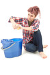cleaning floor young woman with blue bucket, full length