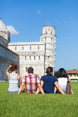 Four Friends on Vacation Visiting Pisa