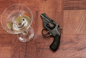 Cocktail and gun