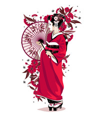 Japanese girl in red traditional clothes with umbrella.