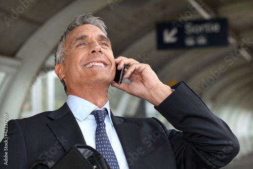 portrait of a businessman on the phone