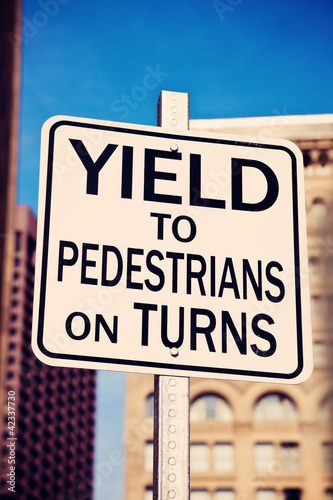 Yield on pedestrians on turns