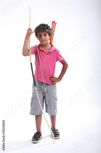 Little boy with bow and arrow