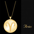 Aries Pendant Necklace, Chain, gold engraved astrology symbol