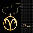 Aries Necklace and Chain, gold silhouette astrology symbol