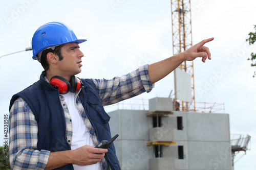Foreman in charge of large building site