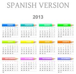 Monday to sunday 2013 calendar with crayons spanish version
