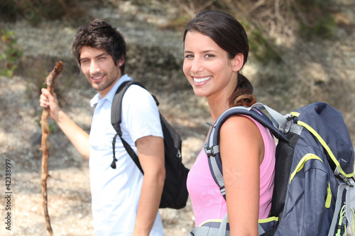 couple on a mountain hike