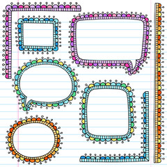 Speech Bubble Frames Psychedelic Notebook Doodles Vector
