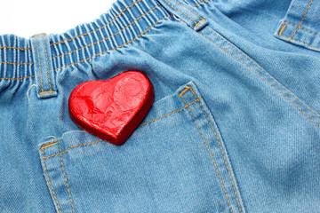 Heart on jean texture