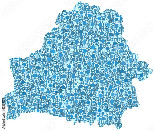 Map of Belarus - Europe - in a mosaic of blue circles