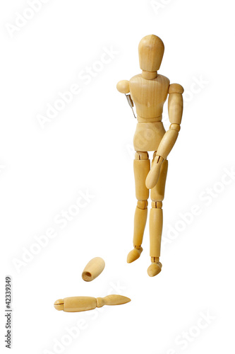 Wooden doll broken arm on white background