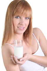 Redhead with a glass of milk